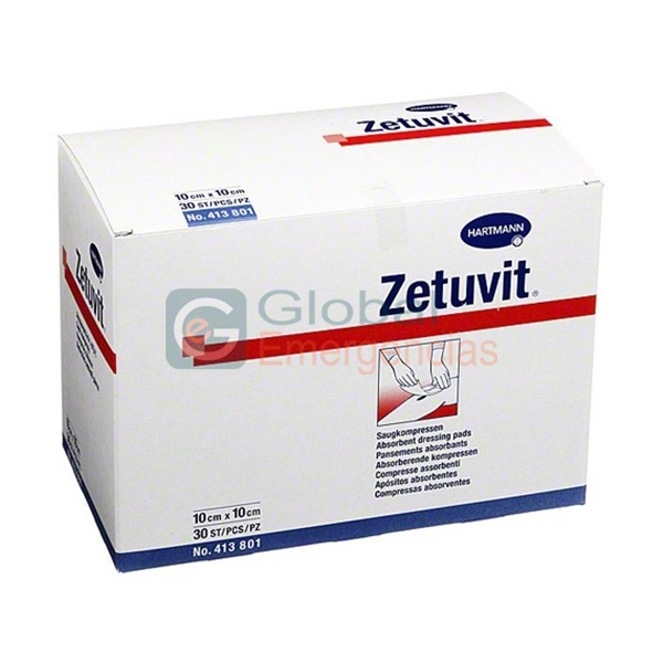 COMPRESA ABSORBENTE ZETUVIT 10 X 10 CM (25 UNIDADES)