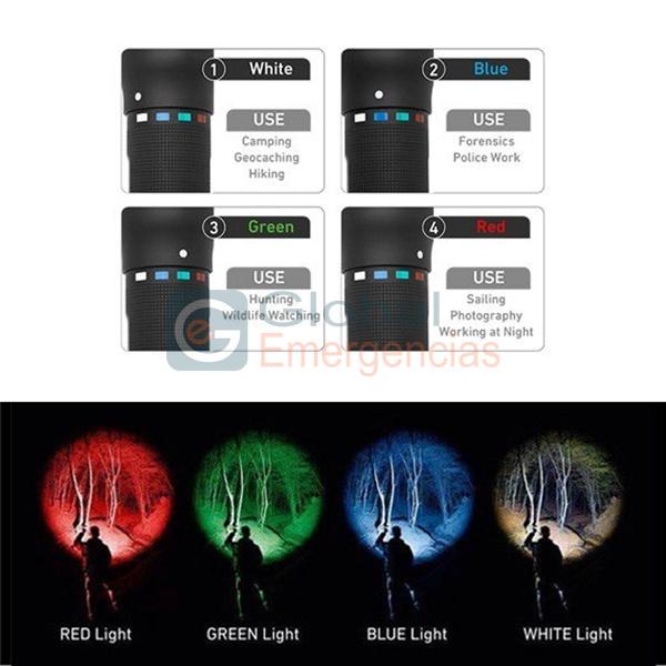 LINTERNA RGB (TRES COLORES Y LUZ BLANCA) P7QC 220 LÚMENES