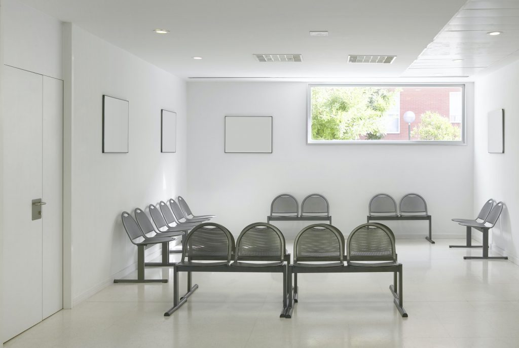 Public building waiting area. Hospital interior detail. Nobody. Horizontal